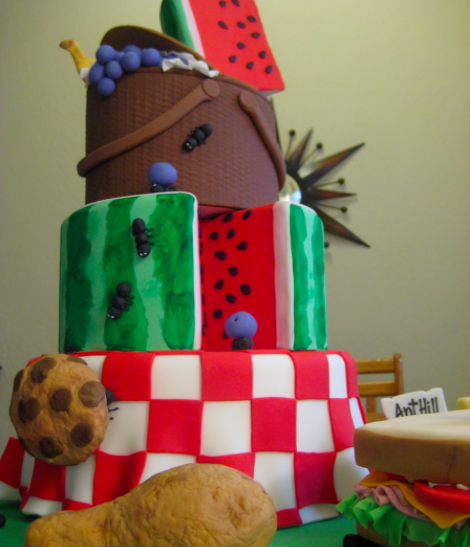 watermellon and ants picnic cake