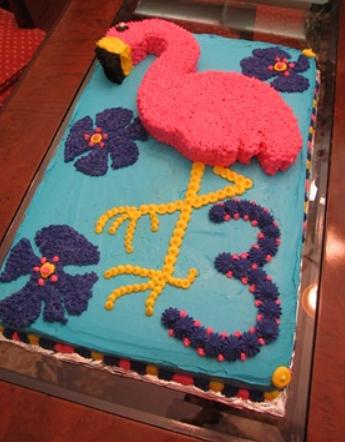 textured flamingo cake