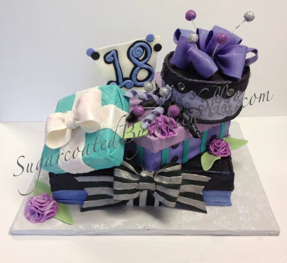 tilted gift cake