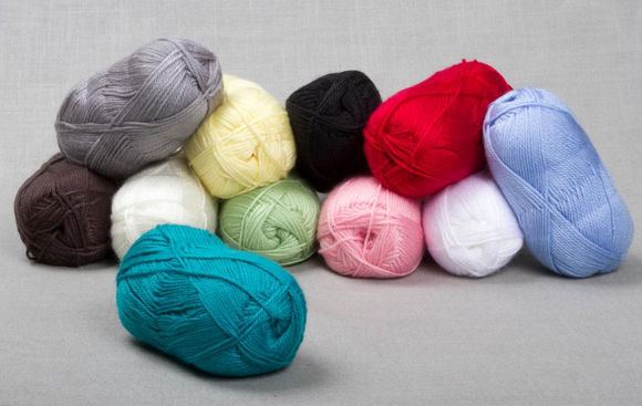 Skeins of Various Colored, Luminescent  Yarn