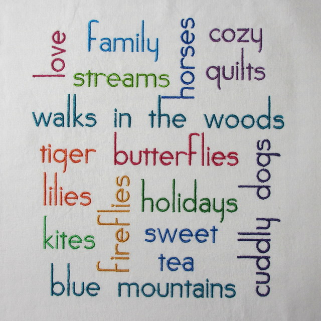 Embroidered Word Cloud Filled with Colorful Words