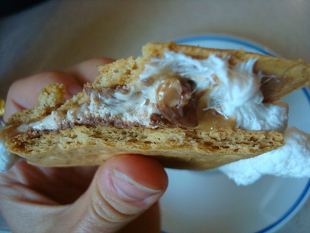 Hand Holding a S'more, Showing Off a Cross Section