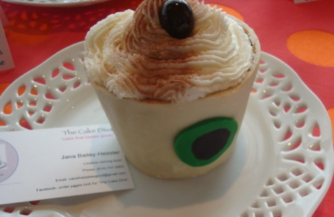 "Cupcake Shaped Like Coffee with Whipped Cream"" width="