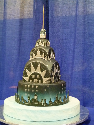 Cake Shaped Like Top of Chrysler Building