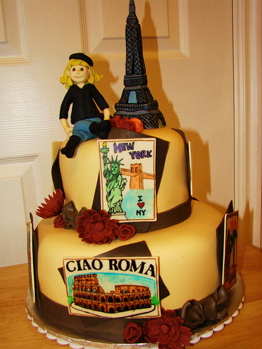 Three-Layer Cake Topped with Fondant Figure