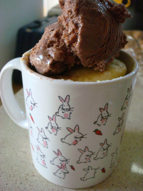 Cake in Mug Topped with Chocolate Ice Cream
