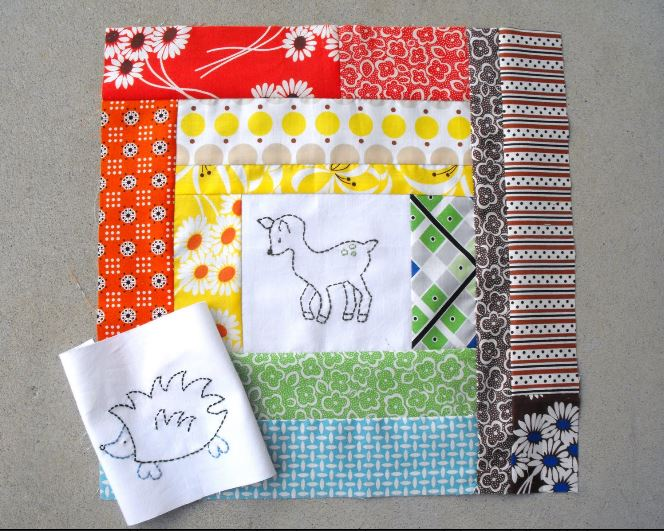 Colorful Baby Quilt with Embroidered Deer in Middle