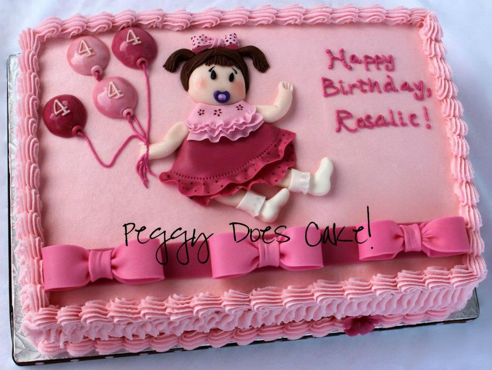 Pink Cake with Little Girl and Balloons
