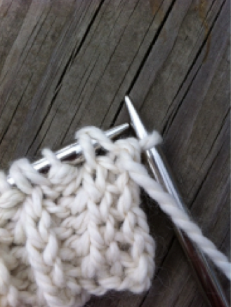 Close Up on Needles with Brioche Stitch