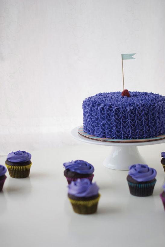 Ruffled Purple Cake on Cake Stand