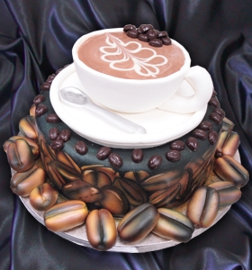 Cake Shaped Like Coffee Beans and Coffee Cup