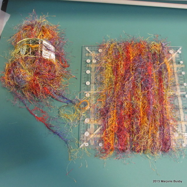 Colored Yarn in Roll and Wrapped on Board