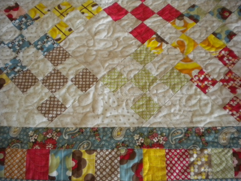 View of Colorful Quilt with Diamond Pattern