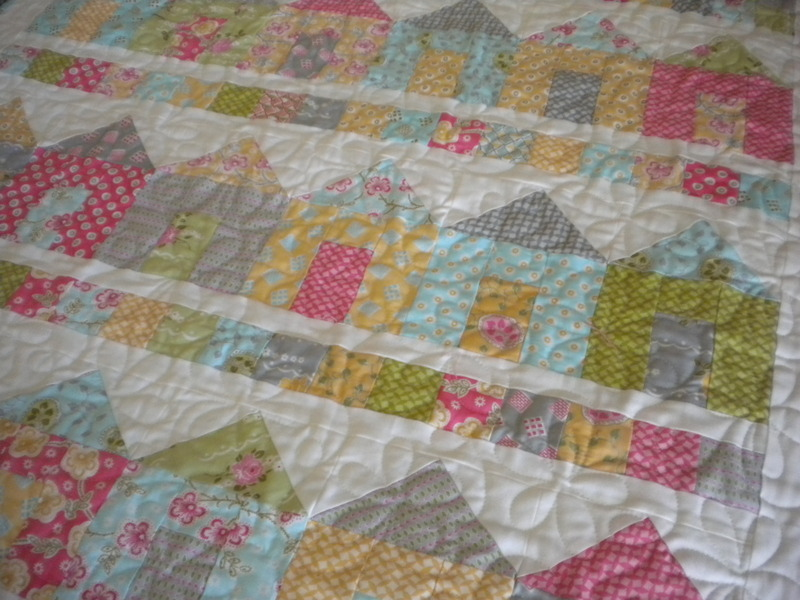 Quilt Decorated with Colorful Pastel Houses