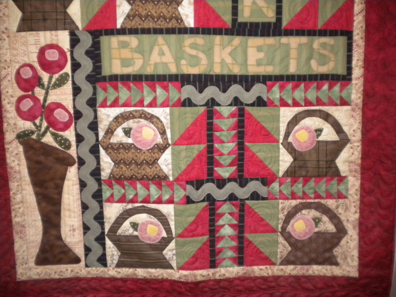 Quilt Featuring Basket and Vases with Flowers