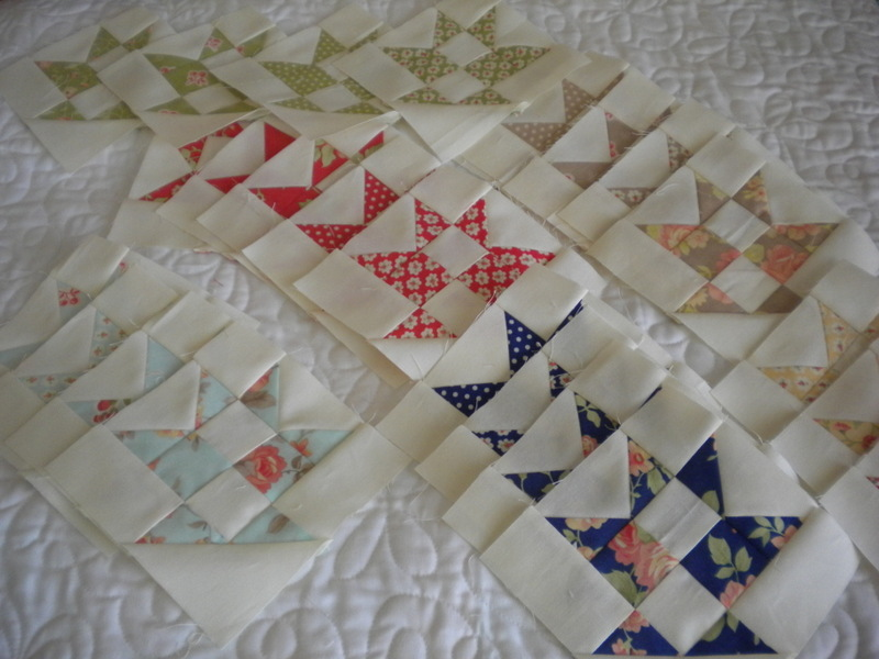 Triangle and Star Quilt Blocks Lined Up and Overlaying Each Other