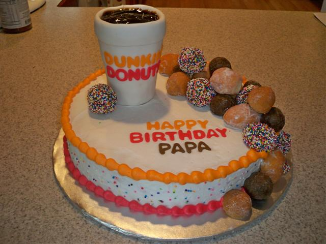 Cake Decorated with Dunkin Donuts Theme
