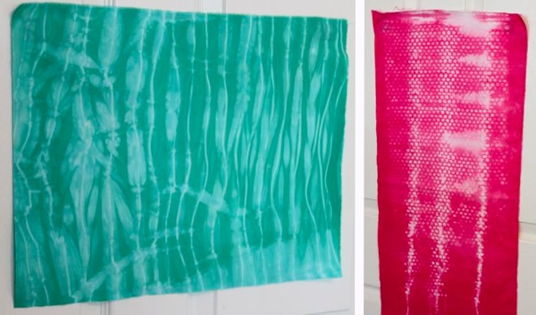 Green and Pink Examples of Dyed Fabric