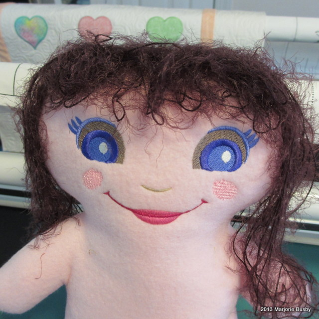 Sewn Plush Doll with Embroidered Hair