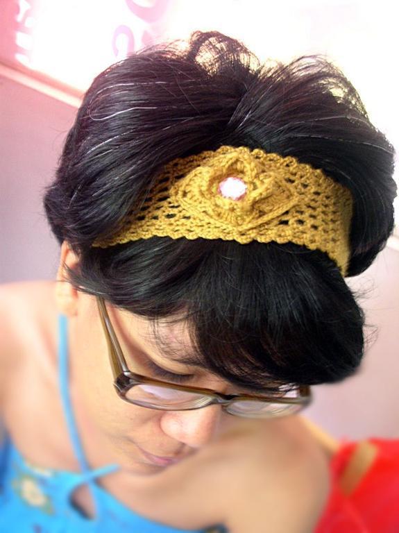 Woman Modeling Crocheted Yellow Headband