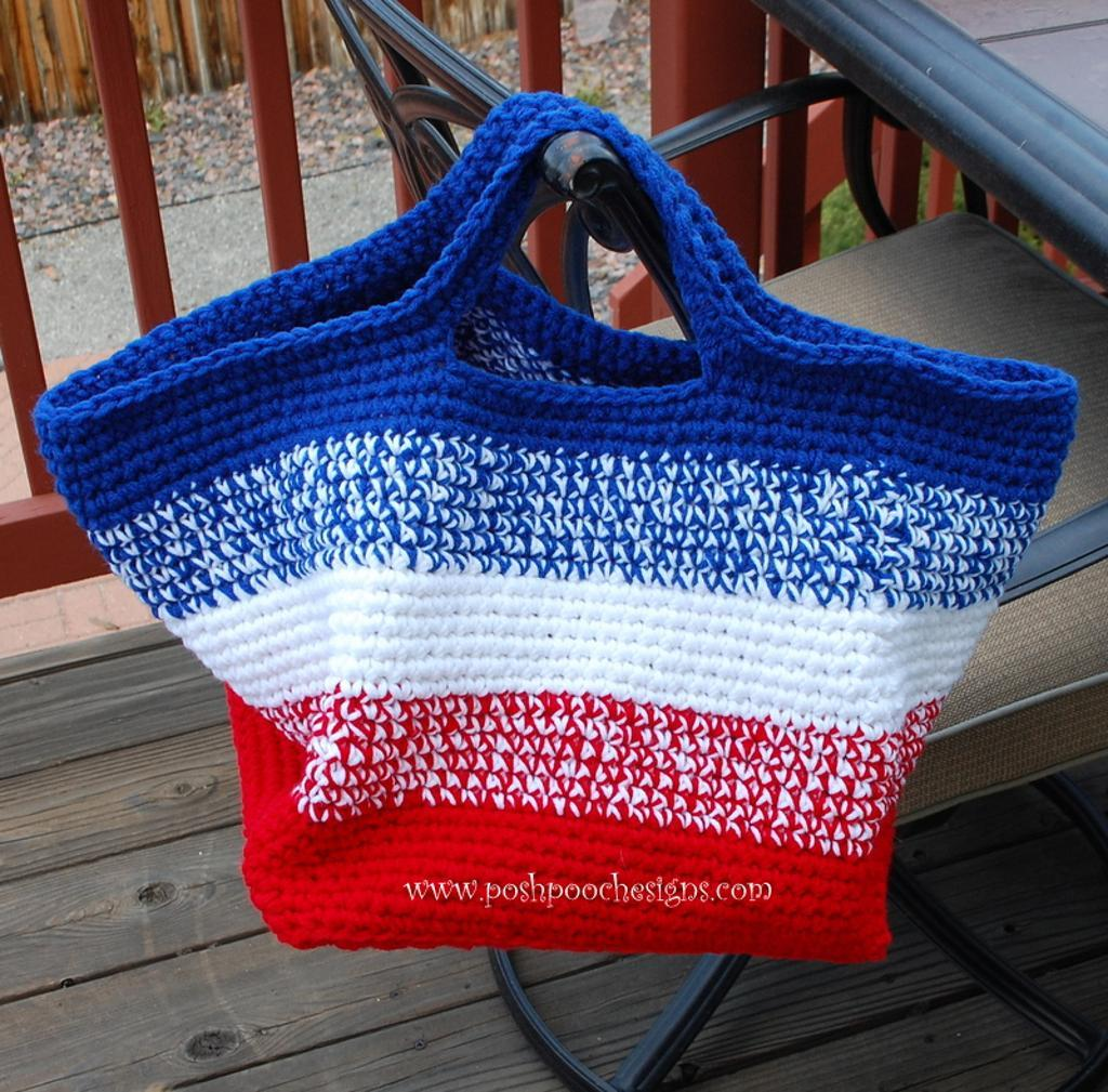 Red, White and Blue Crocheted Beach Bag
