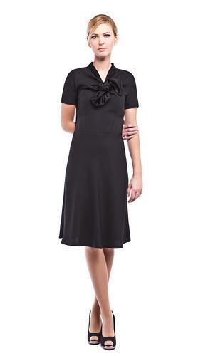Woman Wearing Short Sleeved Black Dress
