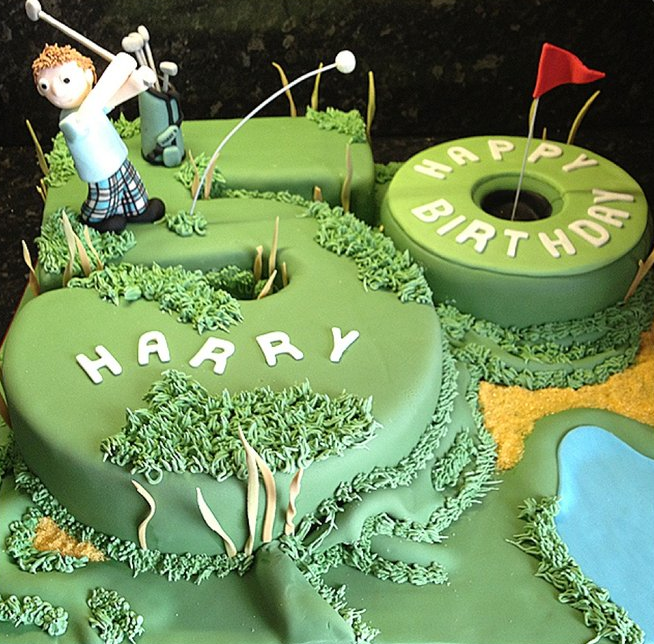 Birthday Cake Decorated like Golf Green