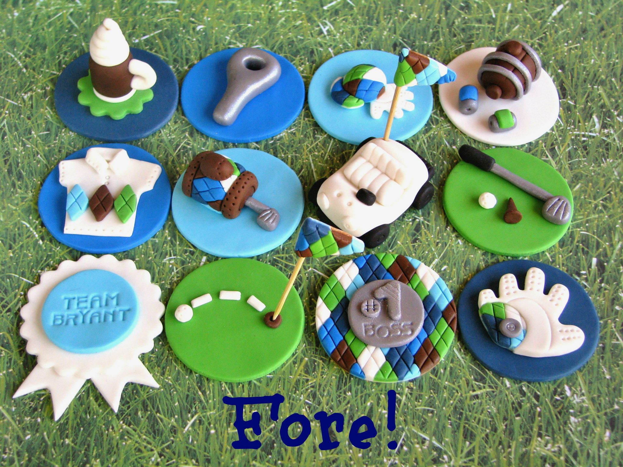 Collection of Golf-Themed Cake Toppers