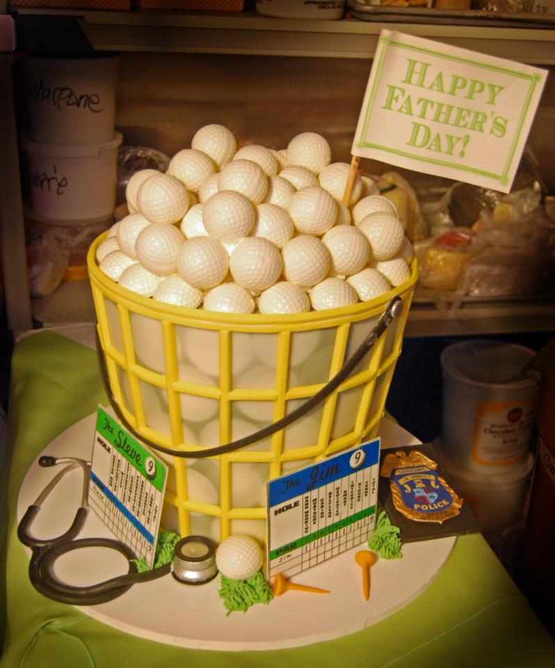 Cake in Shape of Basket of Golf Balls
