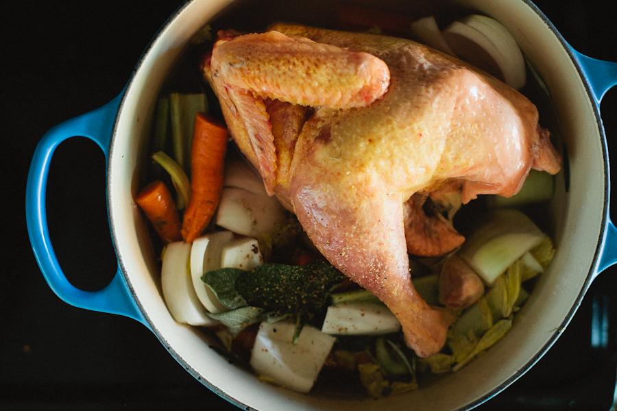 Chicken and Veggies in Pot