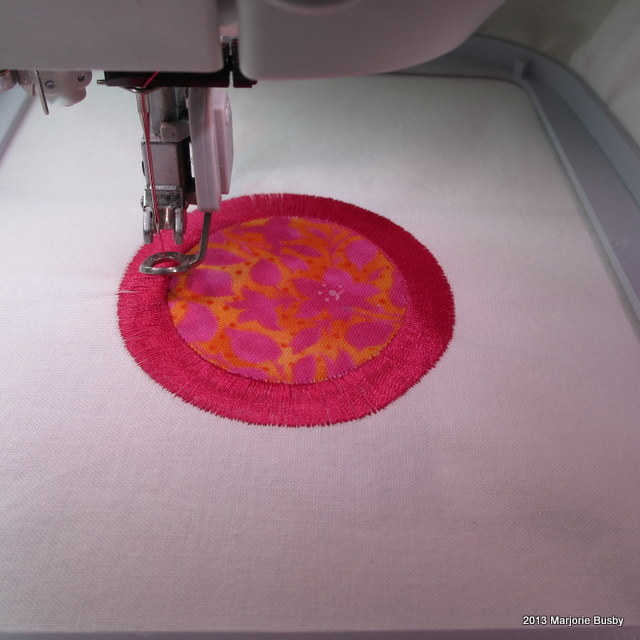 Machine Stitching Around Colorful Appliqué