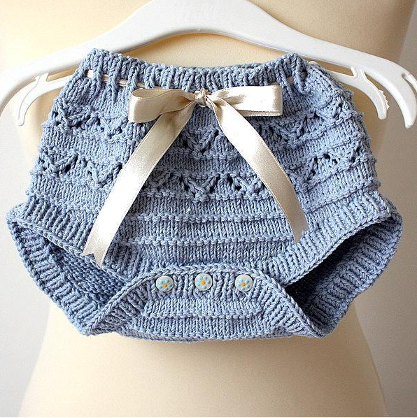 Blue Knit Diaper Cover with Bow