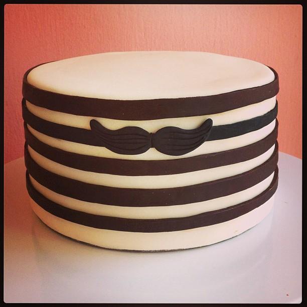 Mustache Striped Cake