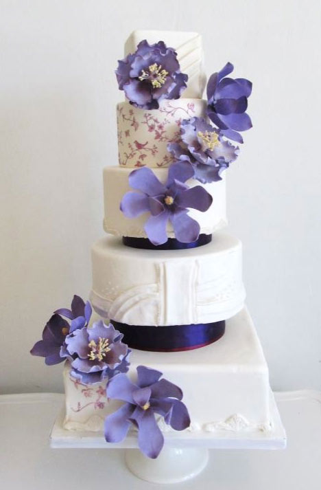 White Tiered Cake with Purple Flowers