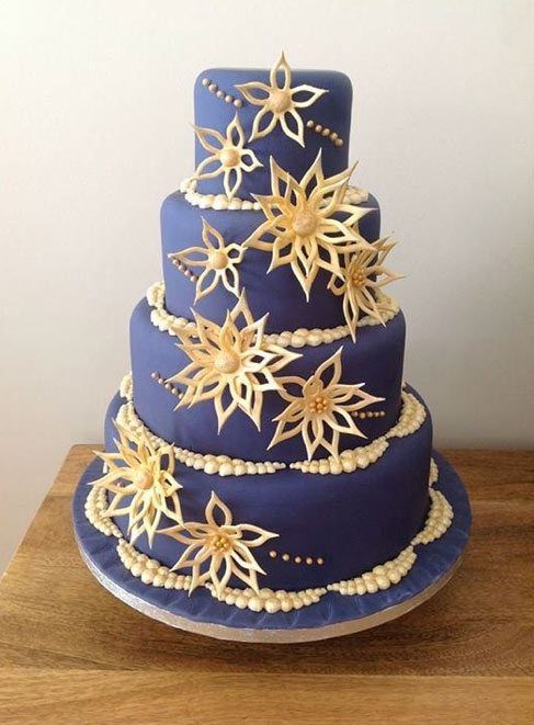 Tiered Cake with 3-D Flowers