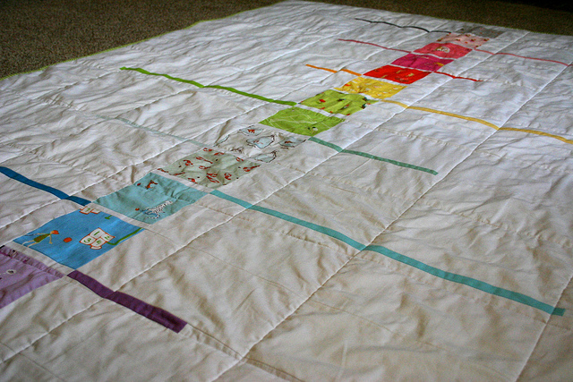 Quilt Back Featuring multi-patterned squares