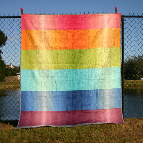 Rainbow Striped Quilt Back