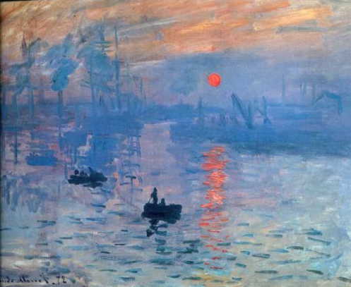 Monet Painting, Boats on Water, Orange Sunset