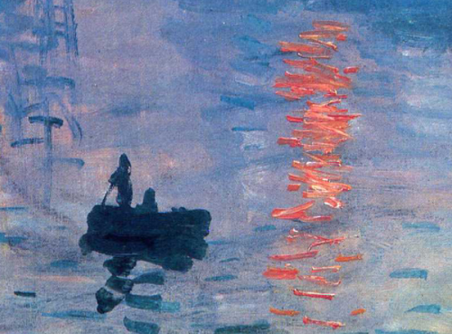 Detail of Monet painting, Boat on Water, Orange Sunset