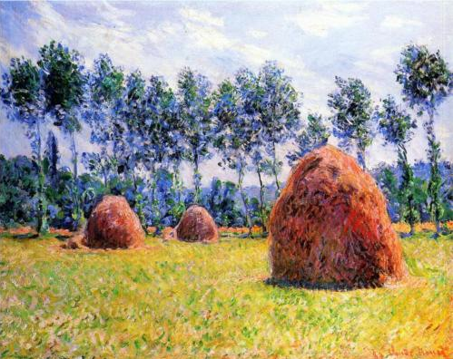 Monet Paiting, Haystacks in Open Field, Trees in Background
