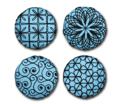 Four Blue Designed Buttons