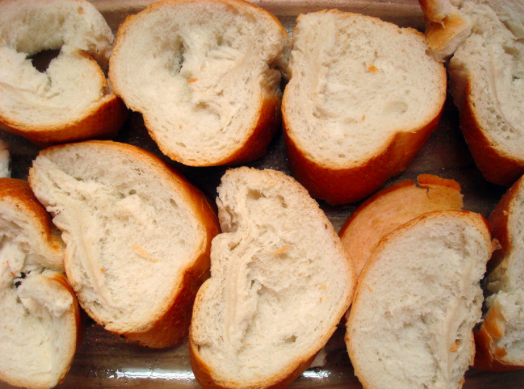 Many Slices of White French Bread