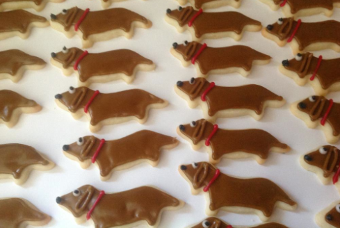 Rows of Wiener Dog Cookies