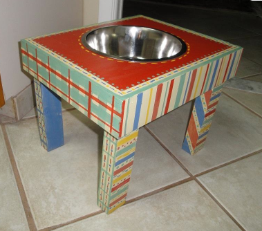 Colorful Wooden Stand with Dog Bowl