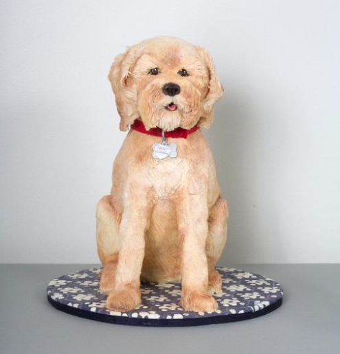 Yellow Sculpted Dog Cake