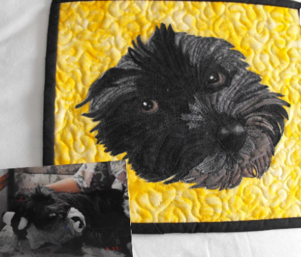Picture of Dog, Dog Face on Quilt