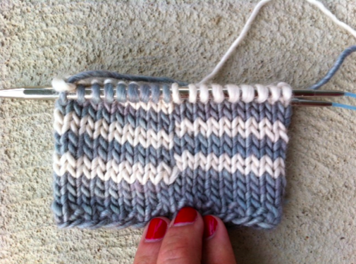 Knitting on Needle, with Jogs
