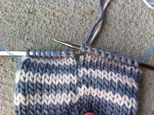 Close Up of Needles and Knitting Project