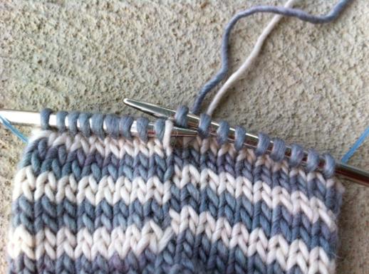 Closeup of Knitting Needle Grabbling Yarn Loop