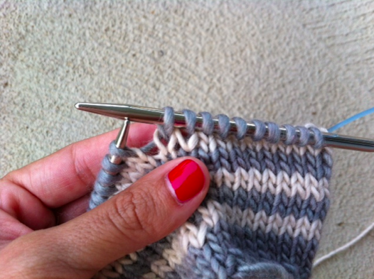 Closeup of Woman's Hands Knitting Row